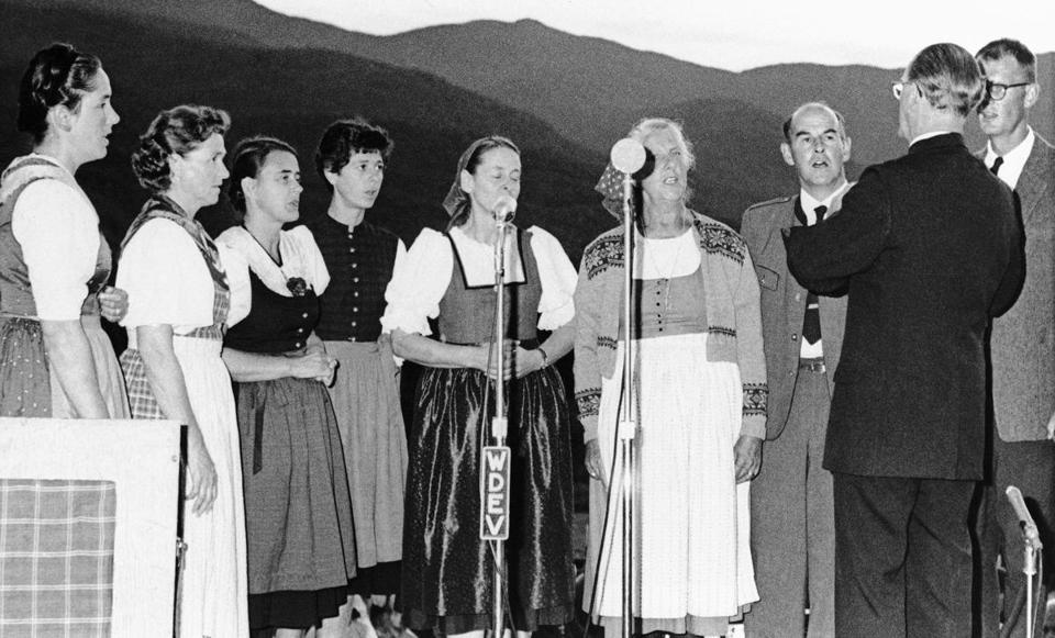 The Trapp family (with Maria third from left) performed a concert at their family lodge in Stowe, Vt., in 1966.
