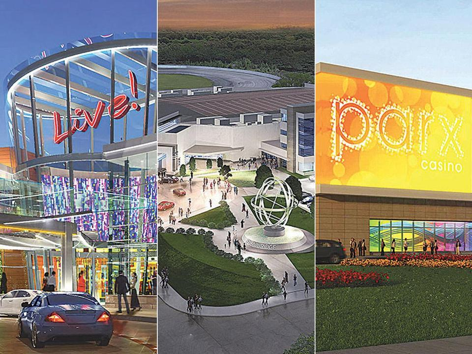 A partial look at renderings for proposed slot parlors in (from left) Leominster, Plainville, and Raynham.