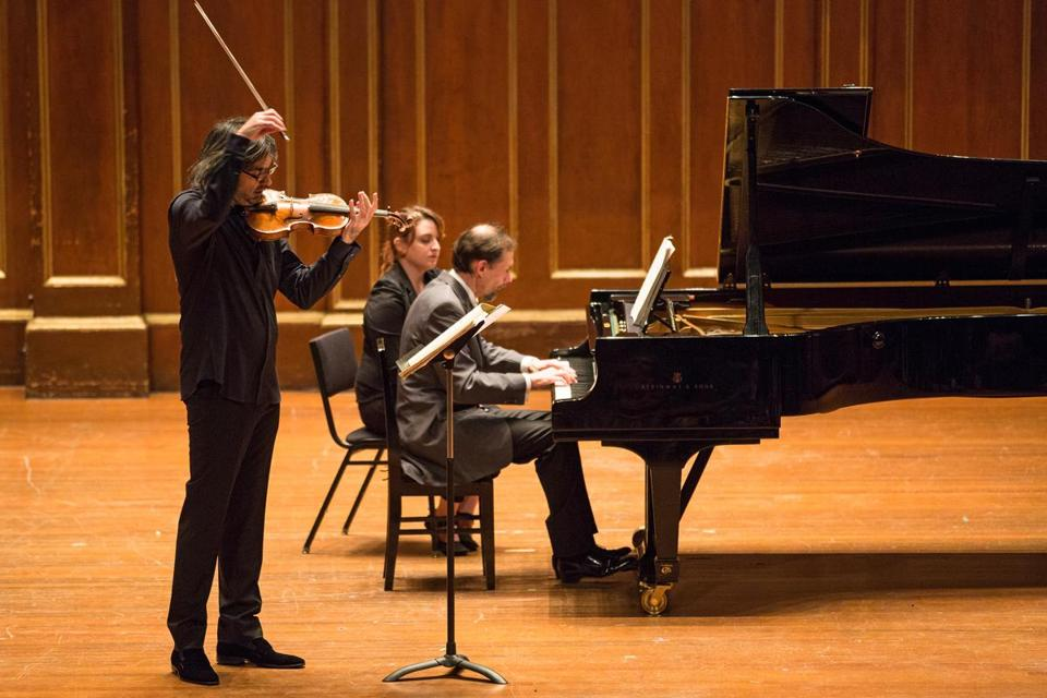 Violinist Leonidas Kavakos and pianist Enrico Pace performing at Jordan Hall on Sunday.