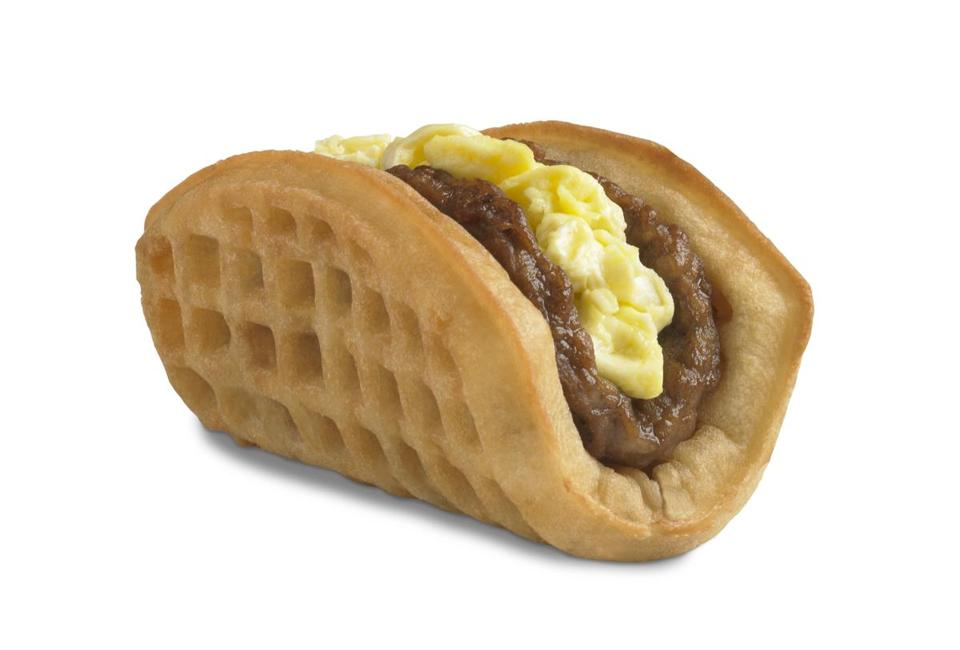 New on the menu at Taco Bell is the Waffle Taco. A breakfast menu goes nationwide on March 27.