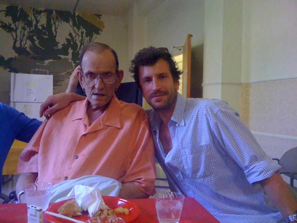Good Chemistry founder Matt Huron shares a moment with his father, James Huron, before his father died of AIDS in 2009.