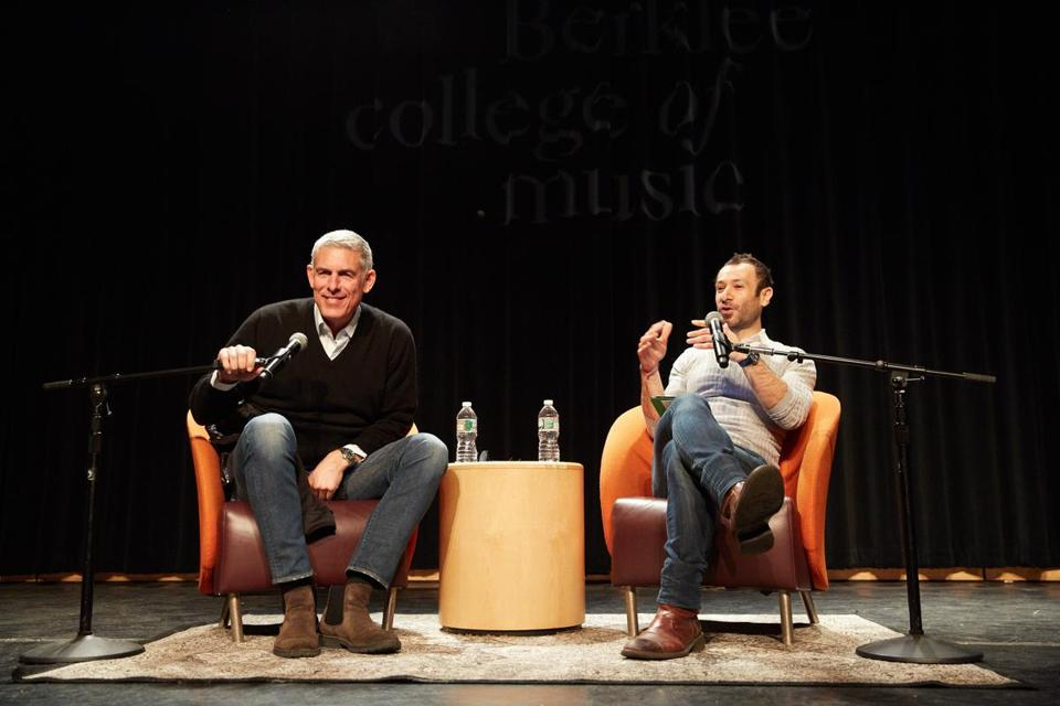 Lyor Cohen (left) is interviewed by Panos Panay, founding managing director of the Berklee Institute for Creative Entrepreneurship.