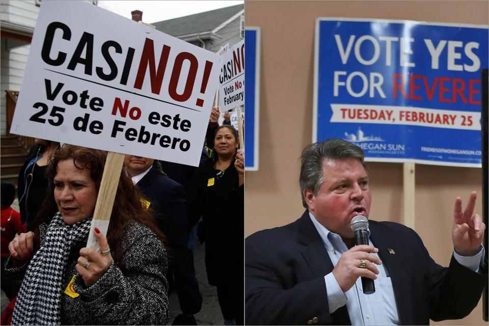 Protesters marched Sunday in opposition to a proposed casino in Revere, while Mayor Dan Rizzo (at right) told a support rally he believes a gambling resort would benefit the city.