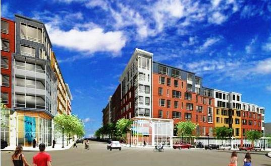 An artist's rendering of the view from Commercial Street to a planned apartment complex flanking Pleasant Street.