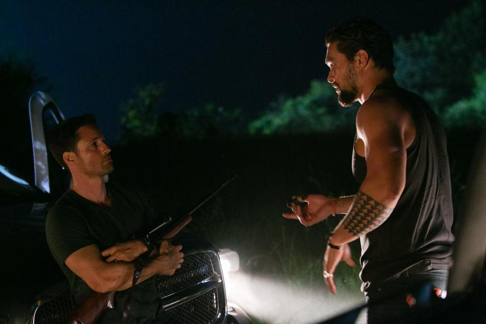 "Martin Henderson (left) and Jason Momoa in the new  Sundance Channel drama ""The Red Road."""