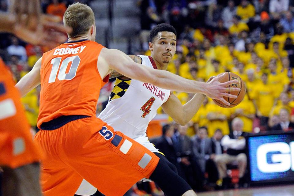 Maryland guard Seth Allen looked to keep the ball away from Syracuse guard Trevor Cooney in the second half.