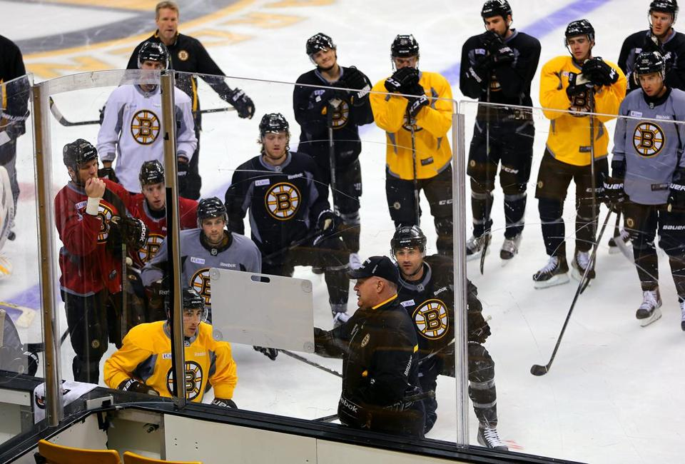 It was back to the drawing board as Claude Julien (bottom, center) put the Bruins through practice at TD Garden Tuesday; John Tlumacki (sports)