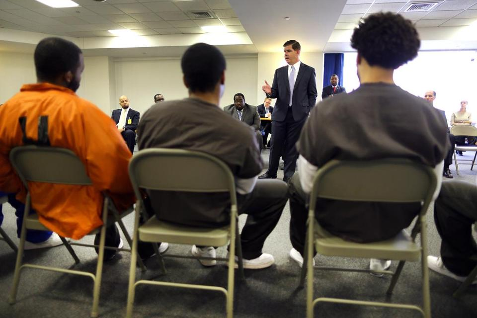 Mayor Martin J. Walsh spoke to inmates for the Boston Reentry Initiative.
