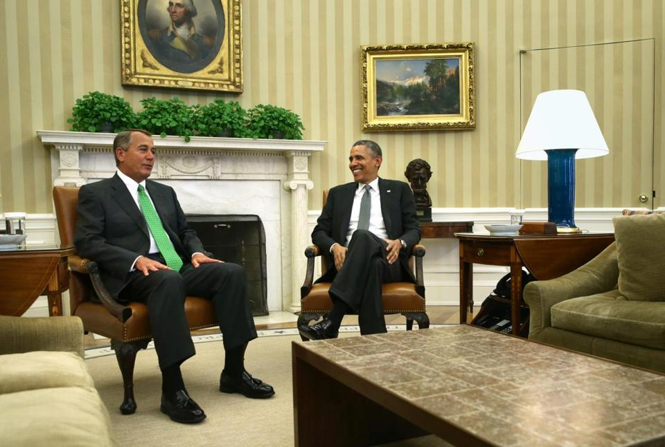 Speaker of the House John Boehner joined President Obama in the Oval Office for an hourlong meeting on Tuesday.
