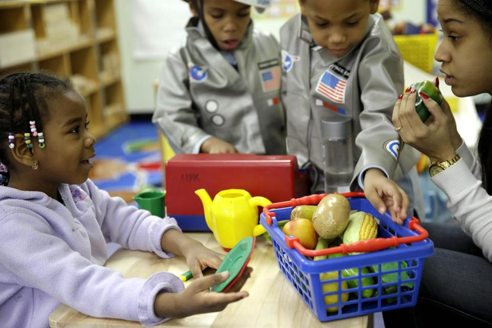 Schoolchildren played a game about healthy foods at the Sheltering Arms Learning Center in New York.