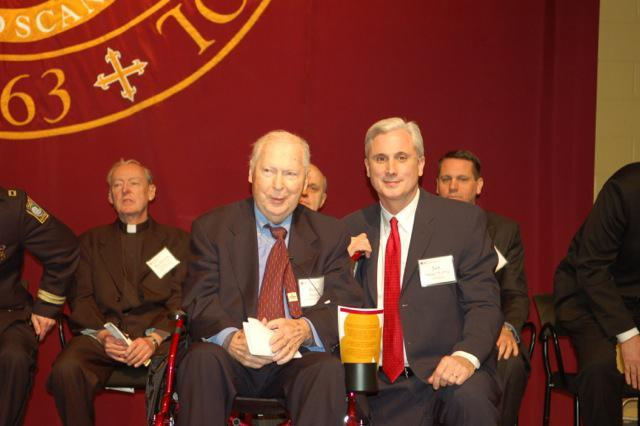 "At the Boston College High awards ceremony (from left): The Rev. Richard ""Doc"" Conway, William A. MacNeill, and BC public affairs director Jack Dunn."