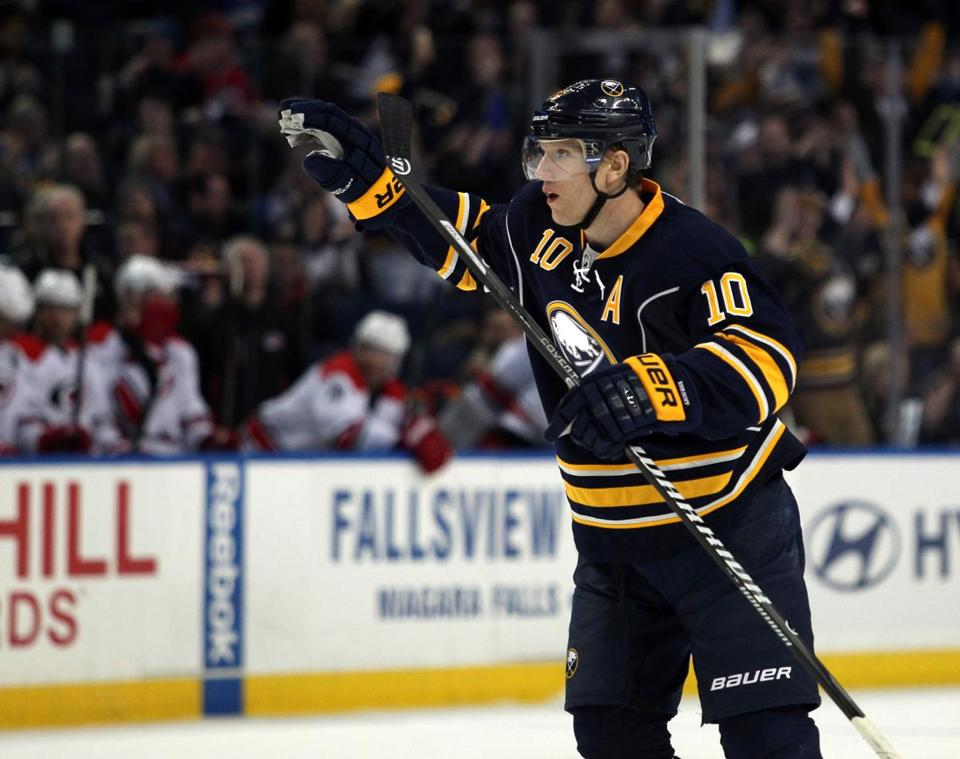 Defenseman Christian Ehrhoff scored twice in the Sabres' 3-2 win over the Hurricanes.