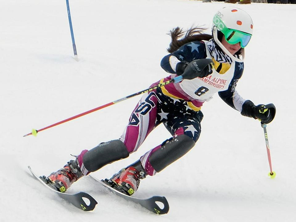 Wellesley's Sami Rubin shows the form that was good for third place in the girls' slalom at Wachusett Mountain.