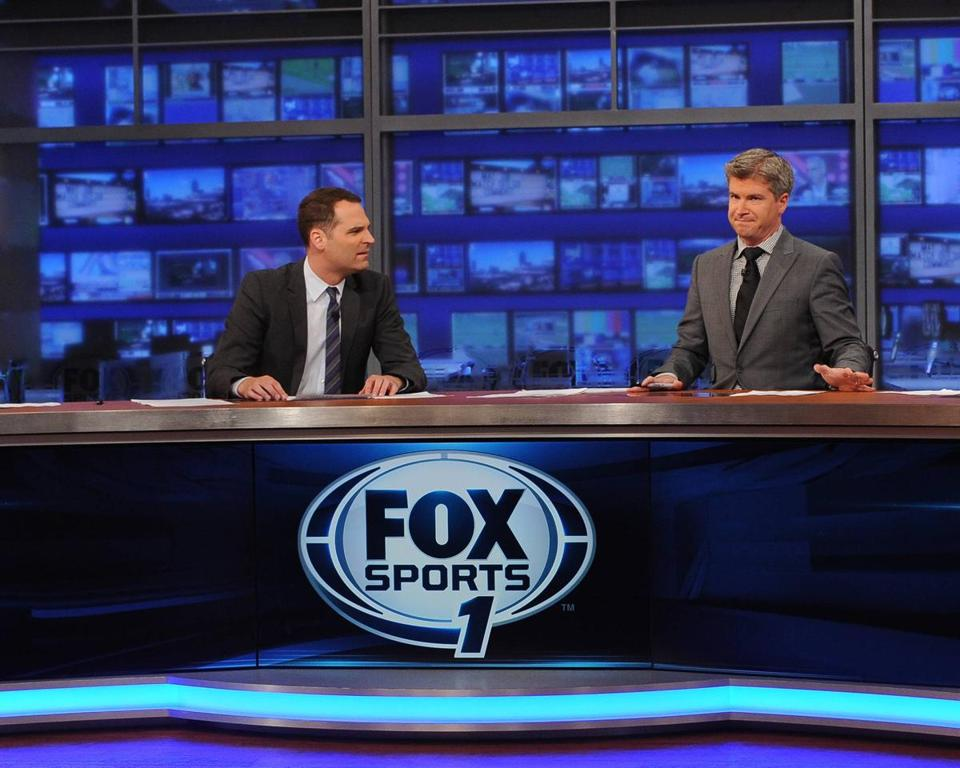 "Jay Onrait (left) and Dan O'Toole anchor ""Fox Sports Live,"" the retooled Fox Sports 1's answer to ESPN's ""SportsCenter."""