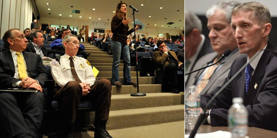 Back Bay resident Debra Bulkeley asked about parking restrictions during a community meeting attended by Police Commissioner William Evans (right), Mayor Martin Walsh, and Marathon officials. The city will be closing parts of Newbury Street and Huntington Avenue to cars on Marathon Day.