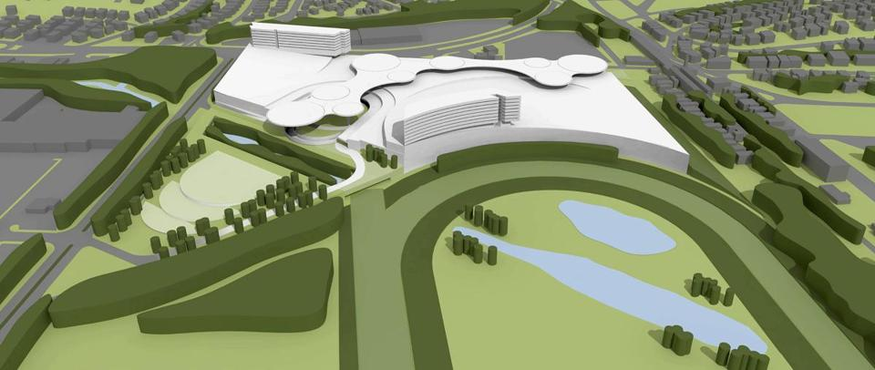 A conceptual design of the proposed casino development by Mohegan Sun in Revere.