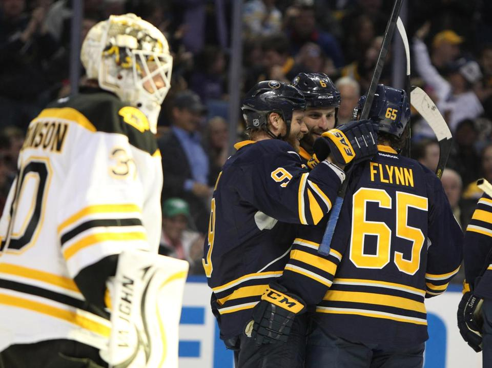 Brian Flynn of the Sabres celebrated his second-period goal