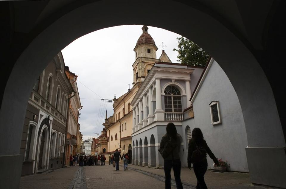 A view through the Gate of Dawn, revered by many Lithuanians for its historic and religious significance.