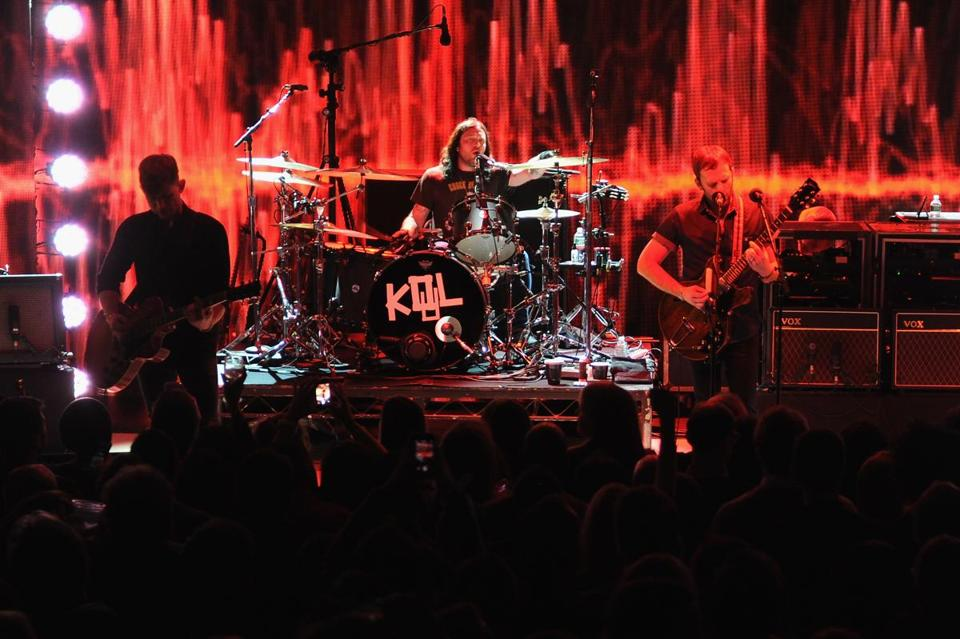 Kings of Leon (pictured in New York in January) played to more than 11,000 fans on Friday.