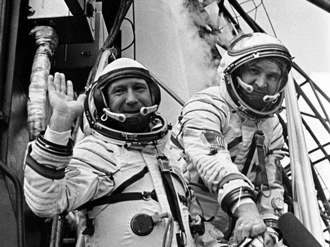Lieutenant Colonel Alexei A. Leonov (left) and Valery N. Kubasov docked with a three-man Apollo capsule in 1975.