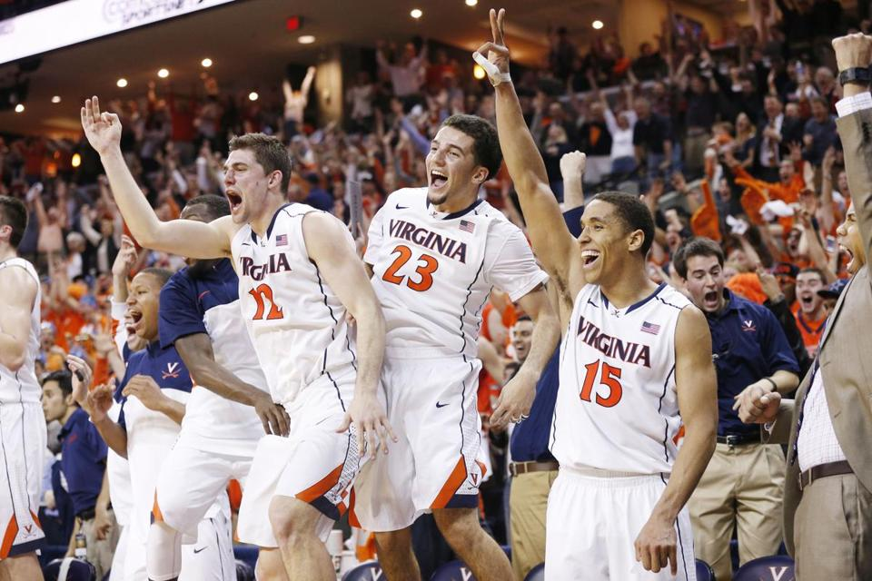 Virginia players celebrated Saturday during their 75-56 victory over Syracuse.