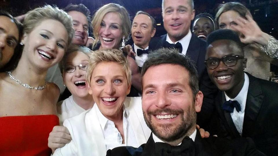 The selfie (from left): Jared Leto, Jennifer Lawrence, Meryl Streep, Channing Tatum, Ellen DeGeneres, Julia Roberts, Kevin Spacey, Bradley Cooper, Brad Pitt, Lupita Nyong'o, Peter Nyong'o Jr., and Angelina Jolie.