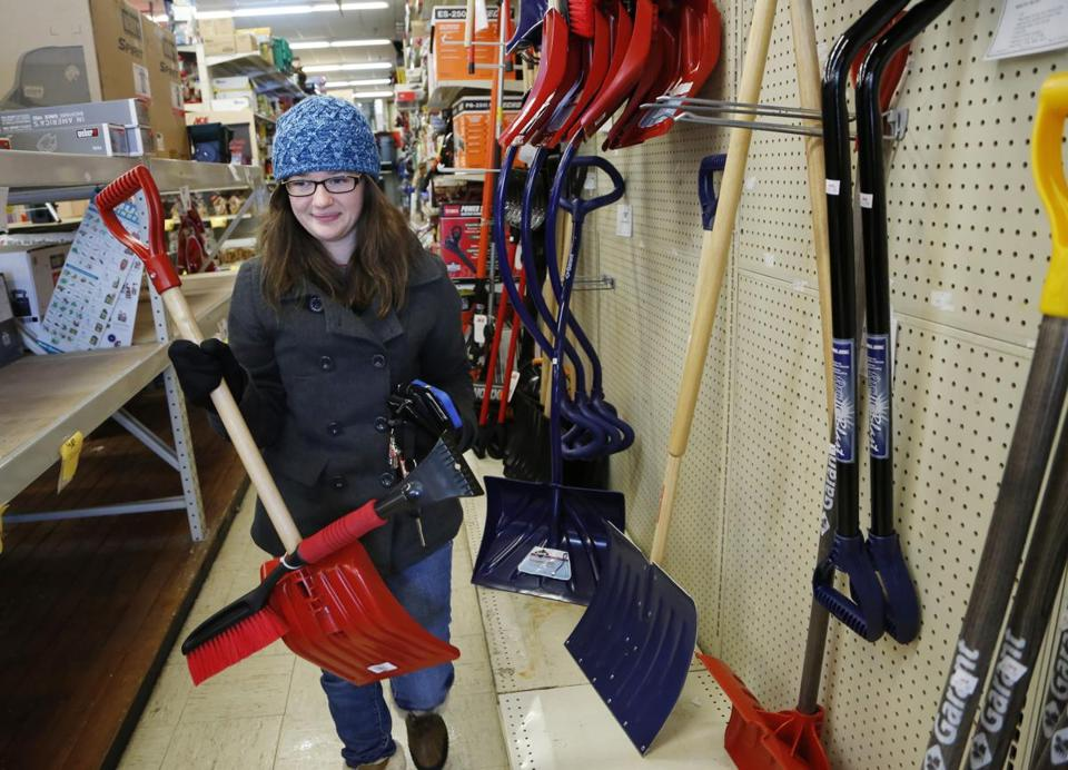 Snow shovels, boots, and other weather-related items are selling faster this year.