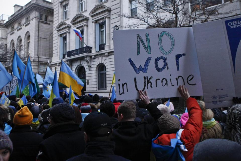 People took part in a protest in front of the Russian Consulate against the military action in Crimea.