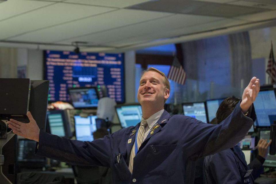 Trader Scott Gueli reacted Tuesday to the stock market's rally, on the floor of the New York Stock Exchange.