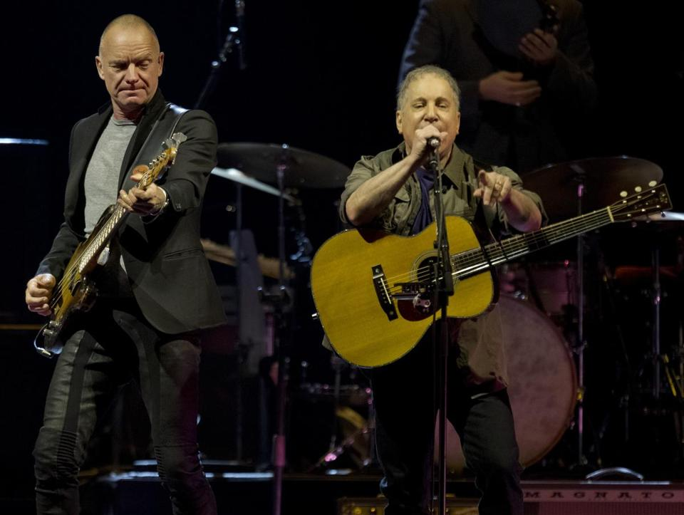 Sting and Paul Simon opened their concert at TD Garden Monday together and closed it the same way two hours and 40 minutes later.