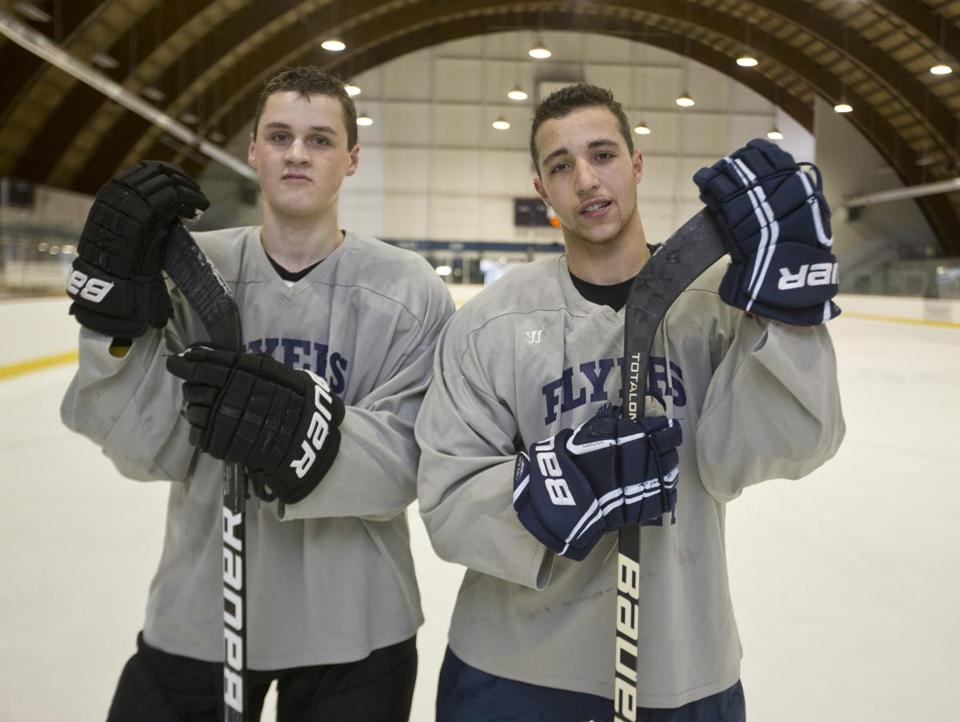 Framingham High seniors Cullen Smith (left) and Cory Gorovitz, after playing last fall with the Junior Bruins, filled key roles for head coach Paul Spear (below) as the Flyers advanced in the postseason.