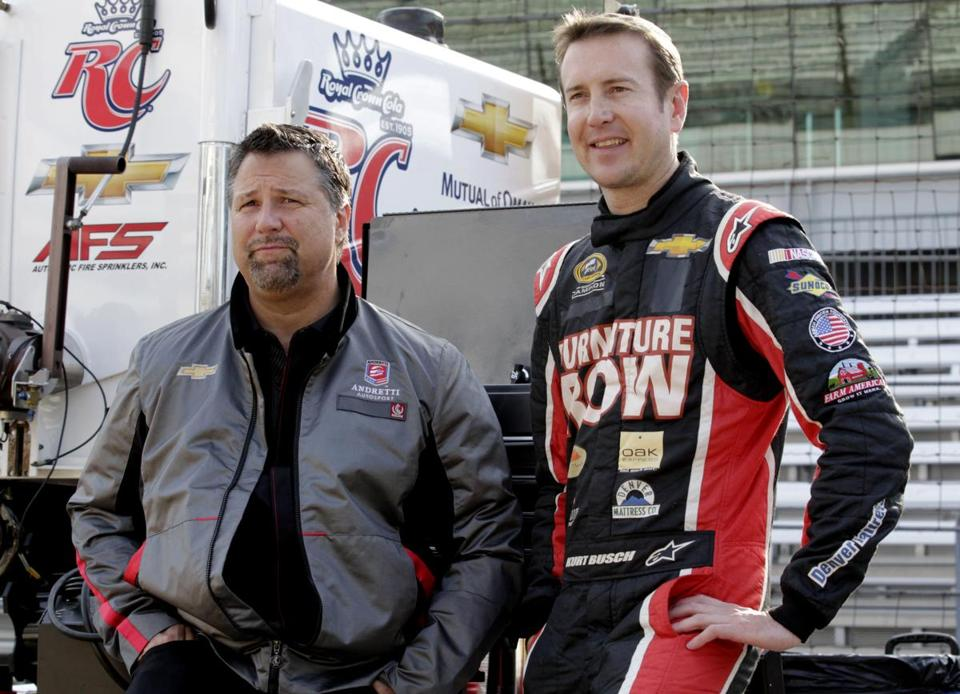 Kurt Busch (right) has the backing of car owner Michael Andretti in his attempt to become the first driver in 10 years to run the Indianapolis 500 and the Coca-Cola 600 on the same day. (AP Photo/AJ Mast, File)