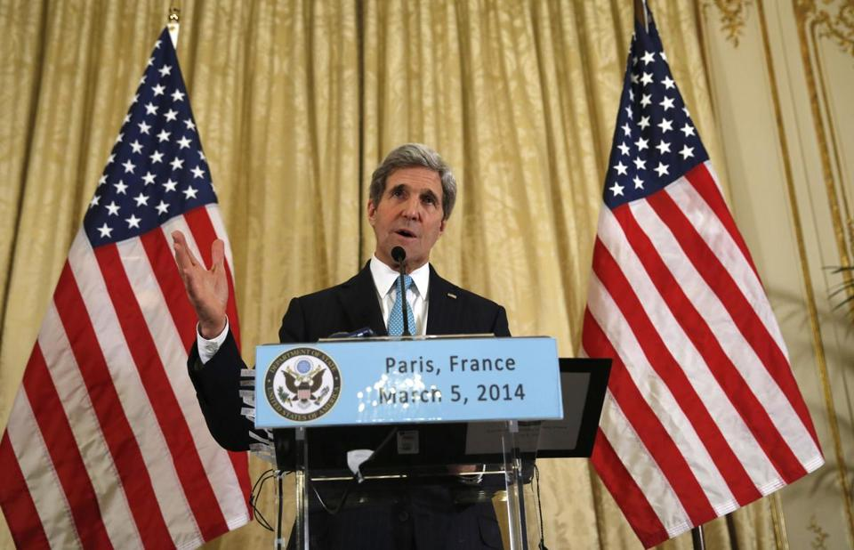 Secretary of State John Kerry spoke about the Ukraine crisis after his meetings with other foreign ministers in Paris on Wednesday.
