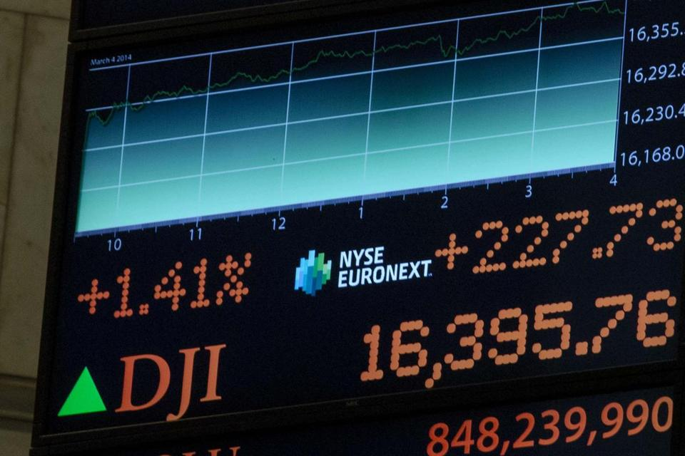 A screen displayed the trading day's final tally for the Dow Jones Industrial Average over the floor of the New York Stock Exchange on Tuesday. Close to 16,400, the index has surged since hitting a low near 6,500 five years ago during the financial crisis.