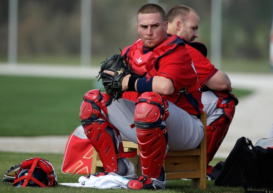 Red Sox  Christian Vazquez catching on with help of Molinas - The ... 88757082ee3