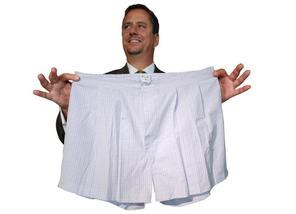AN auction house employee displayed a pair of men's boxer shorts that once belonged to Bernard Madoff.