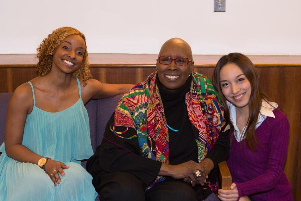 Judith Jamison (center) with Lesley University dance therapy students Stefanie Belnavis (left) and Ayako Takahashi.