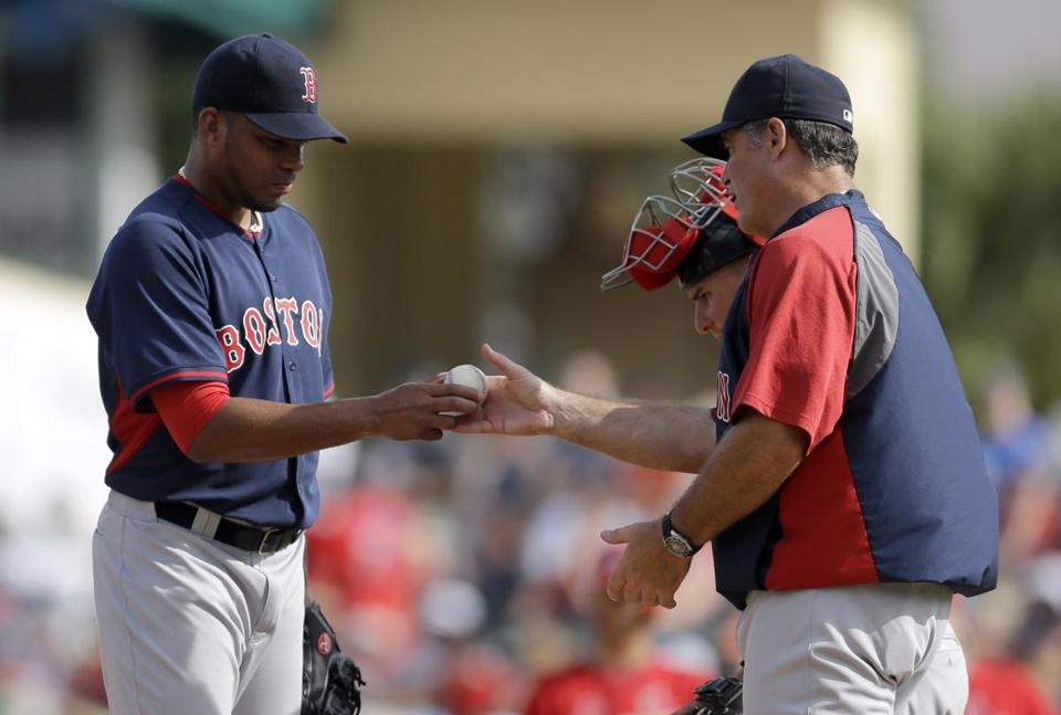 John Farrell removed Dalier Hinojosa from Wednesday's game against the Cardinals.