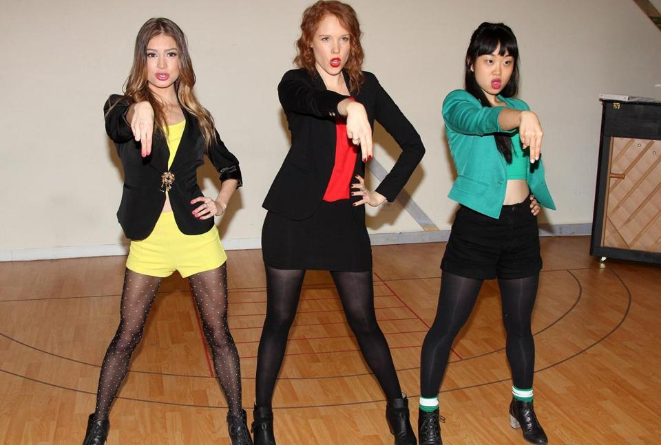 "From left: Elle McLemore, Jessica Keenan Wynn, and Alice Lee rehearsing for ""Heathers: The Musical."""