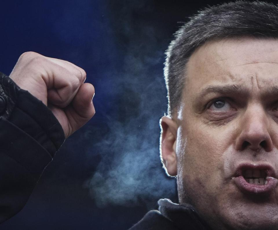 Svoboda leader Oleh Tyahnybok attends an antigovernment rally in Kiev in February.