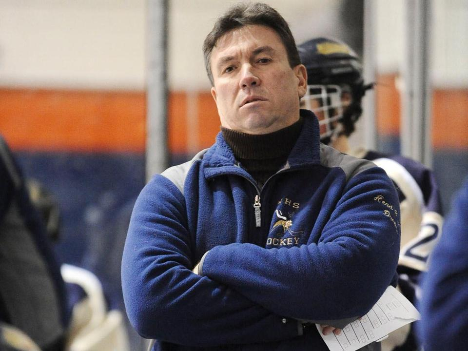 Winthrop High School hockey coach Dale Dunbar, as seen during a game in January 2009.