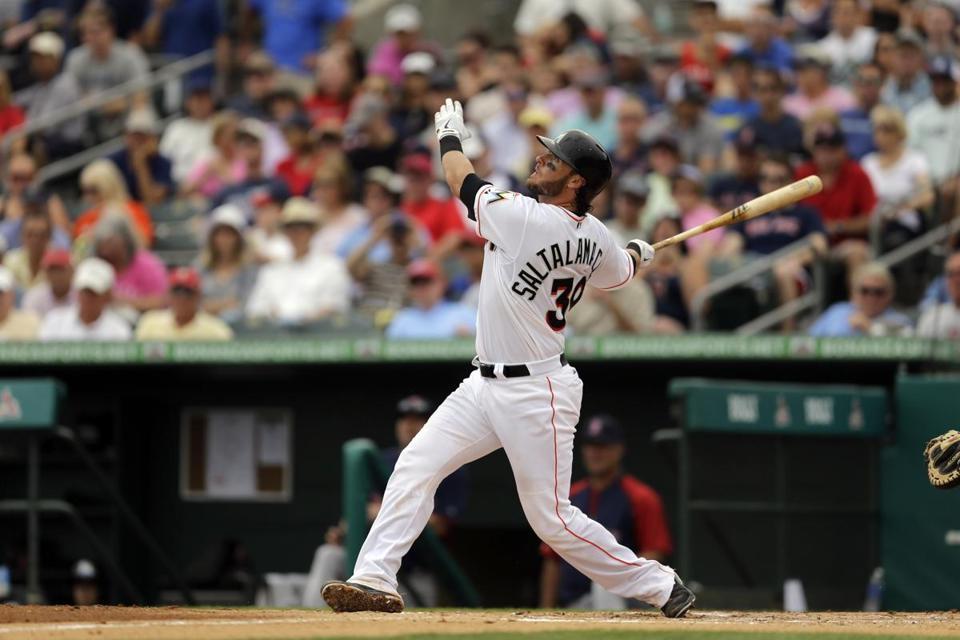 Old friend Jarrod Saltalamacchia was in action against the Red Sox Thursday.. (AP Photo/Jeff Roberson)