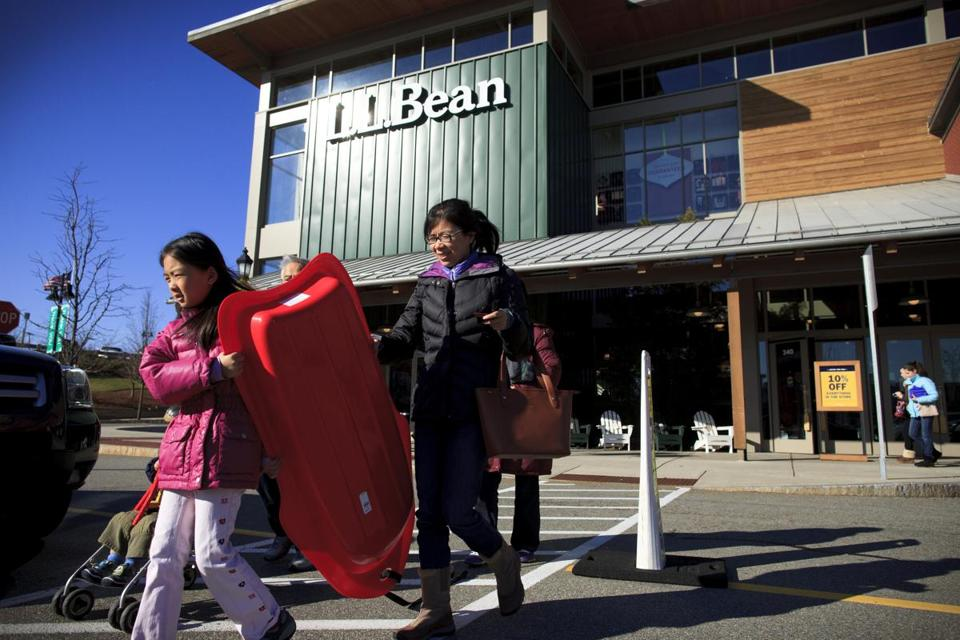Shoppers departed the L.L. Bean store at Legacy Place in Dedham on Black Friday.