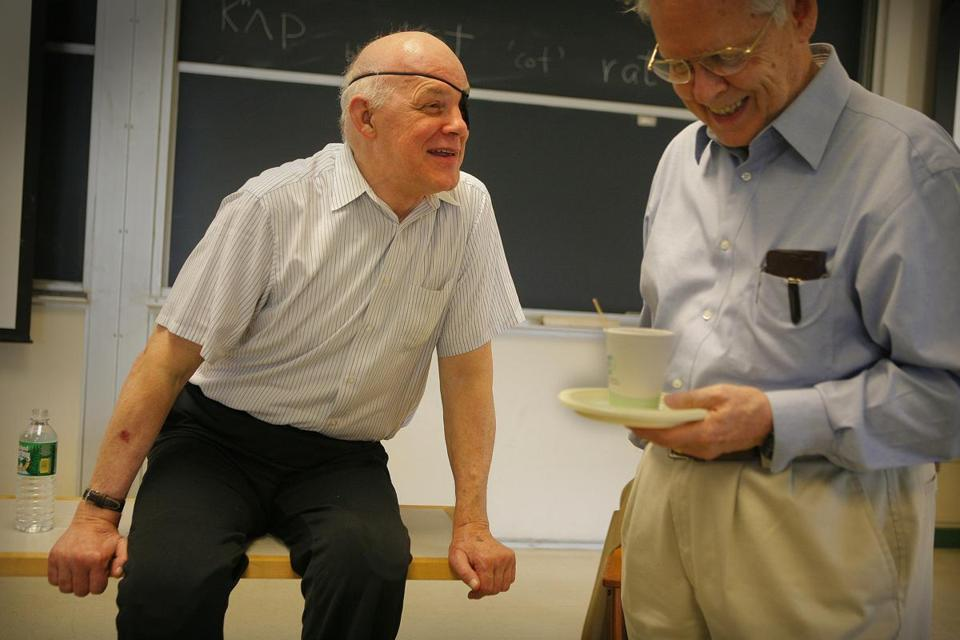 Paul Sally (left), shown with MIT professor Sigurdur Helgason, was known for his spirited classroom presence.