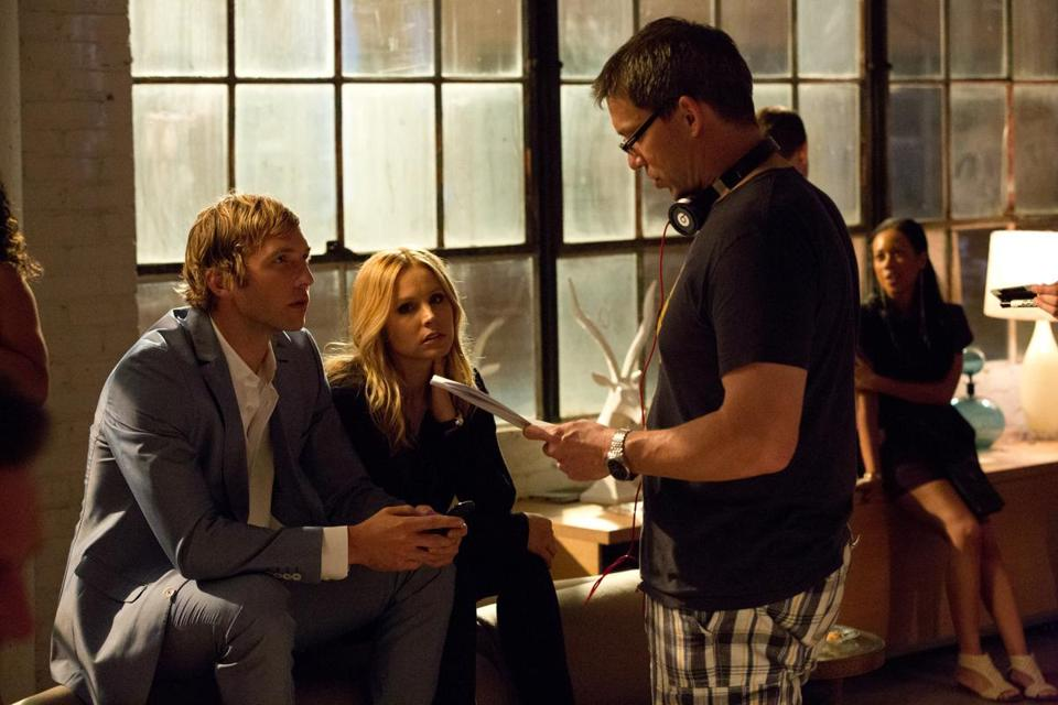 "From left: Ryan Hansen, Kristen Bell, and director Rob Thomas on the set of the new film ""Veronica Mars."""
