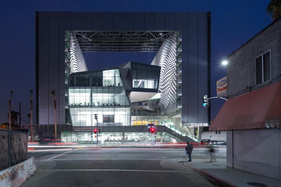 Emerson College's flashy $85 million campus in Los Angeles houses a state-of-the-art screening room, audio and video labs, performance studios, dorms, classrooms, walkways, and a cafe.