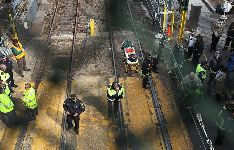 Crews reviewed the scene in March 2014 after a Green Line train derailed near Kenmore station. Six Green Line trolleys derailed in 2016, according to data from the National Transit Database.