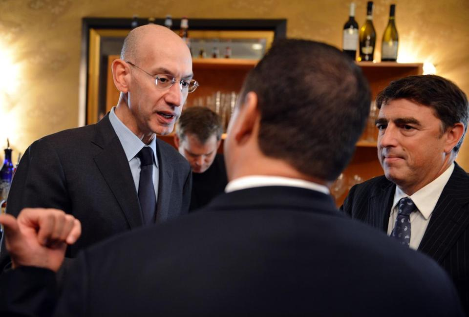 NBA commissioner Adam Silver (left), with Boston Celtics co-owner Wyc Grousbeck (right), counts beefing up the league's social media presence as a goal.