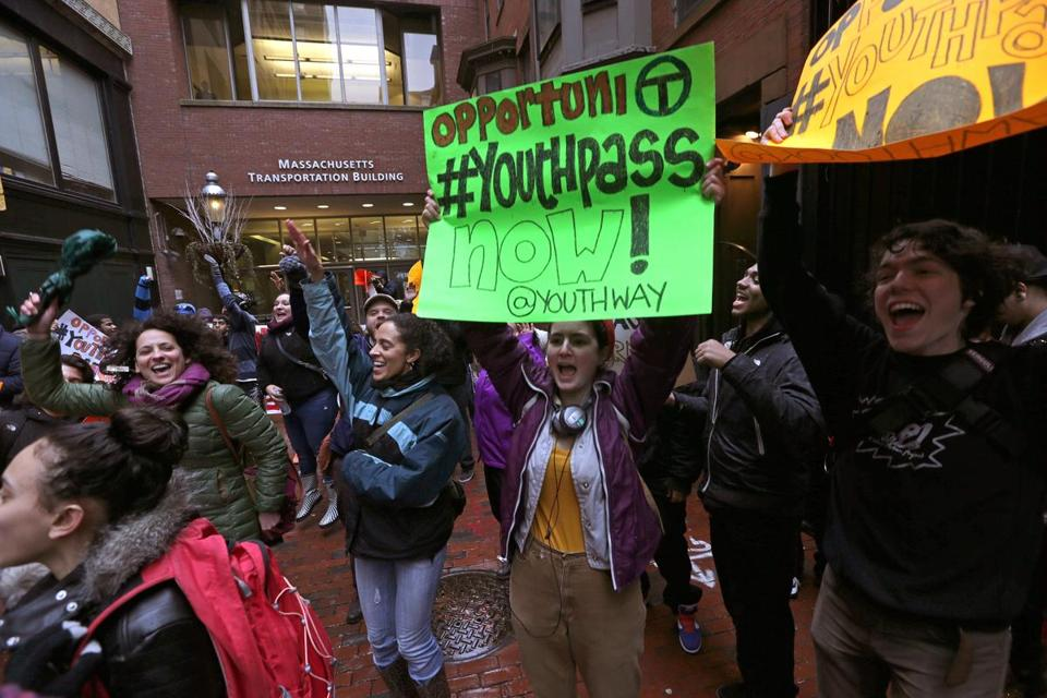 As public transit fees are also set to increase, students rallied outside the Transportation Building Wednesday in favor of subsidized youth passes for bus and subway.
