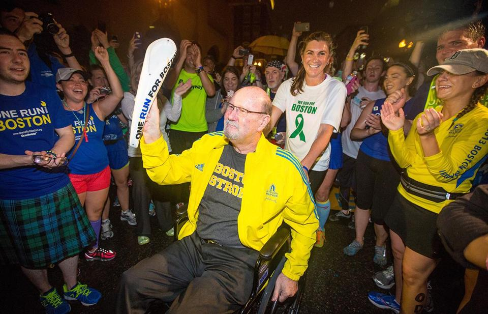 Last year John Odom was pushed over the finish line by his daughter. In this year's relay, he'll walk, with the help of a cane.